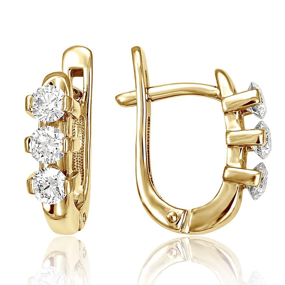 fd19f771392c Серьги из жёлтого золота 750 пробы с бриллиантами из коллекции ЛИНИЯ УСПЕХА  (арт. 2-11-0421-501). Белый Бриллиант