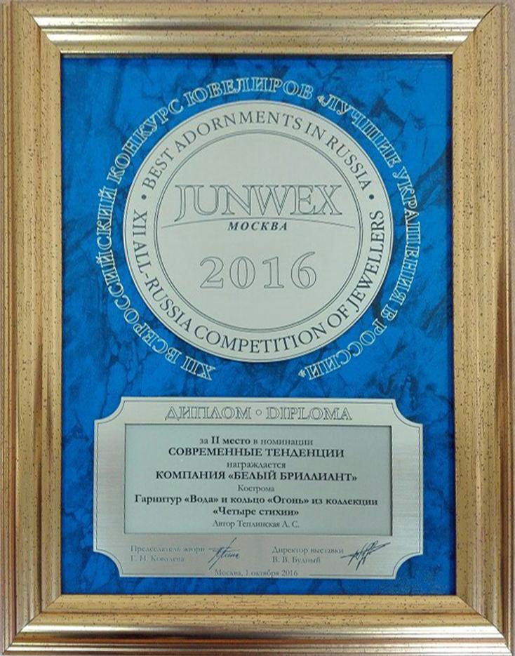 Диплом за е место в номинации Современные тенденции Белый  Диплом за 2 место в номинации Современные тенденции
